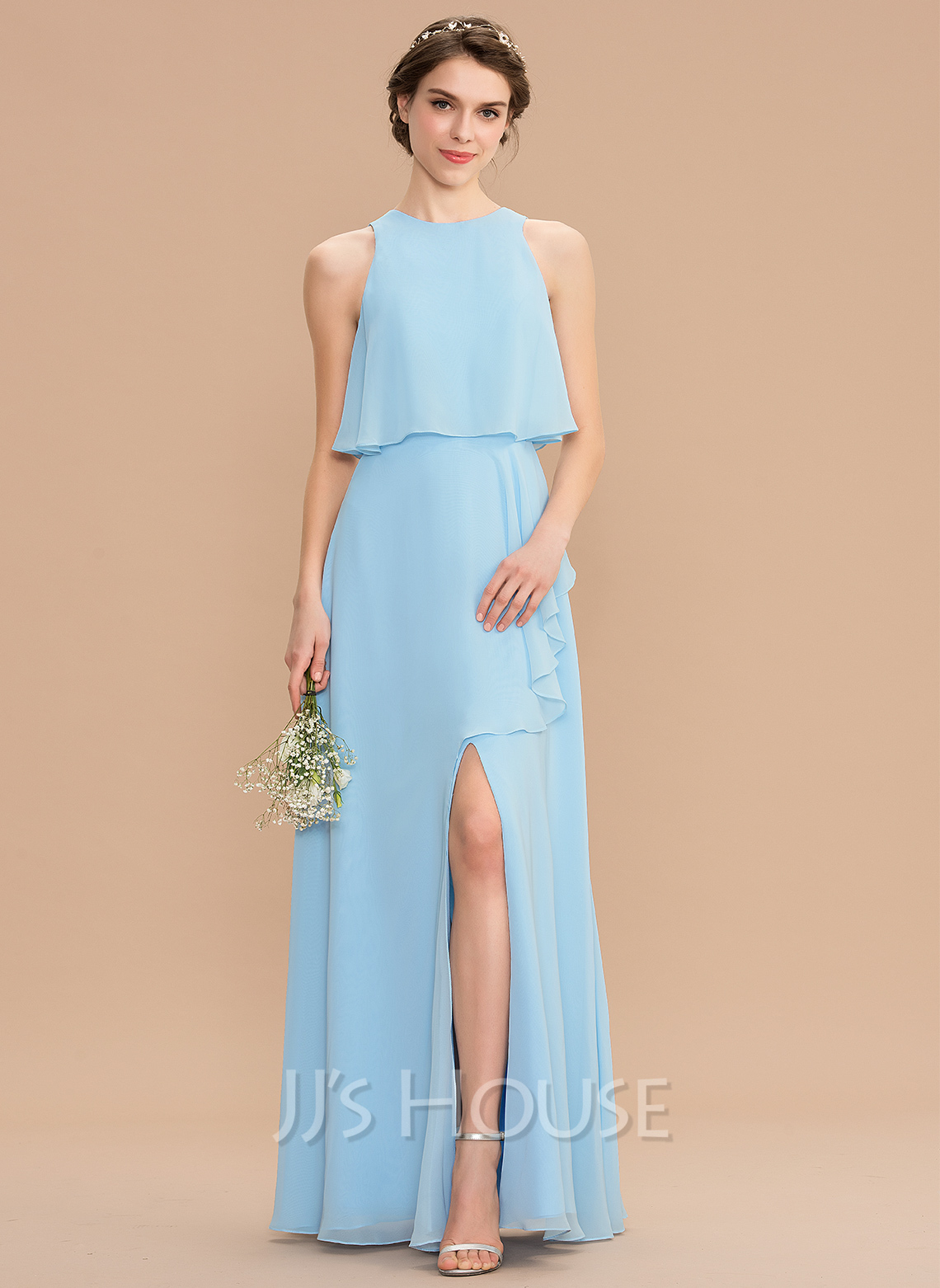 Scoop Neck Floor-Length Chiffon Bridesmaid Dress With Split Front Cascading Ruffles