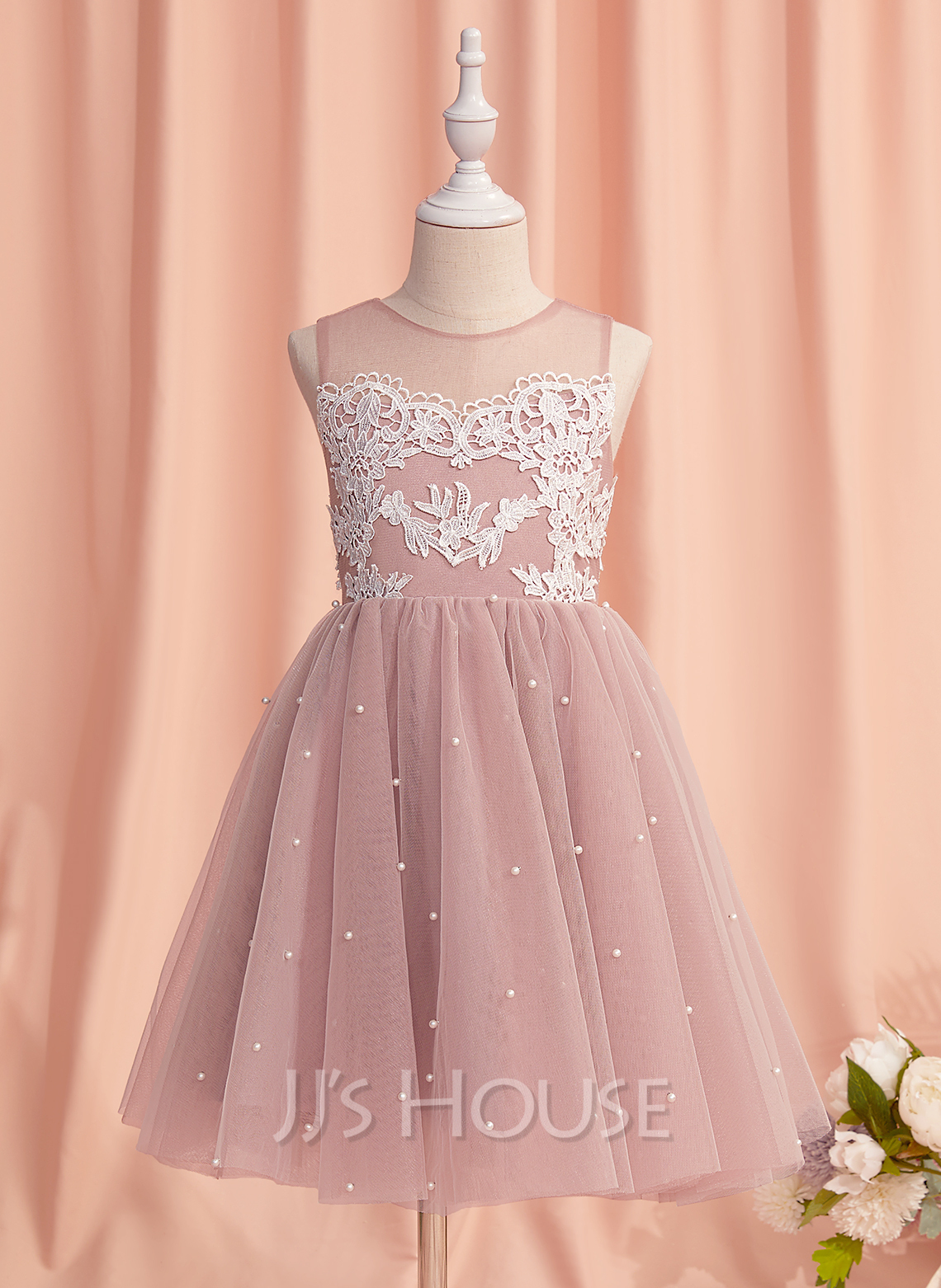 A-Line Knee-length Flower Girl Dress - Tulle Sleeveless Scoop Neck With Lace/Beading