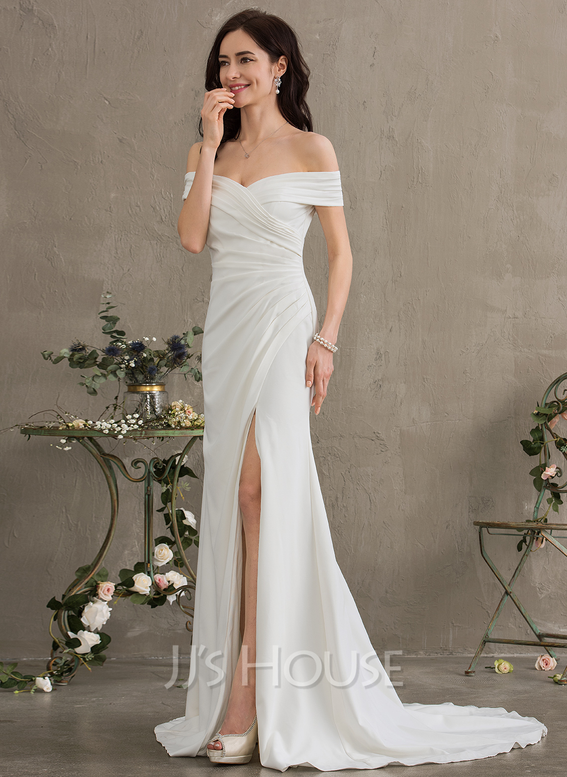 Sheath/Column Off-the-Shoulder Sweep Train Stretch Crepe Wedding Dress With  Ruffle Split Front (002186401)