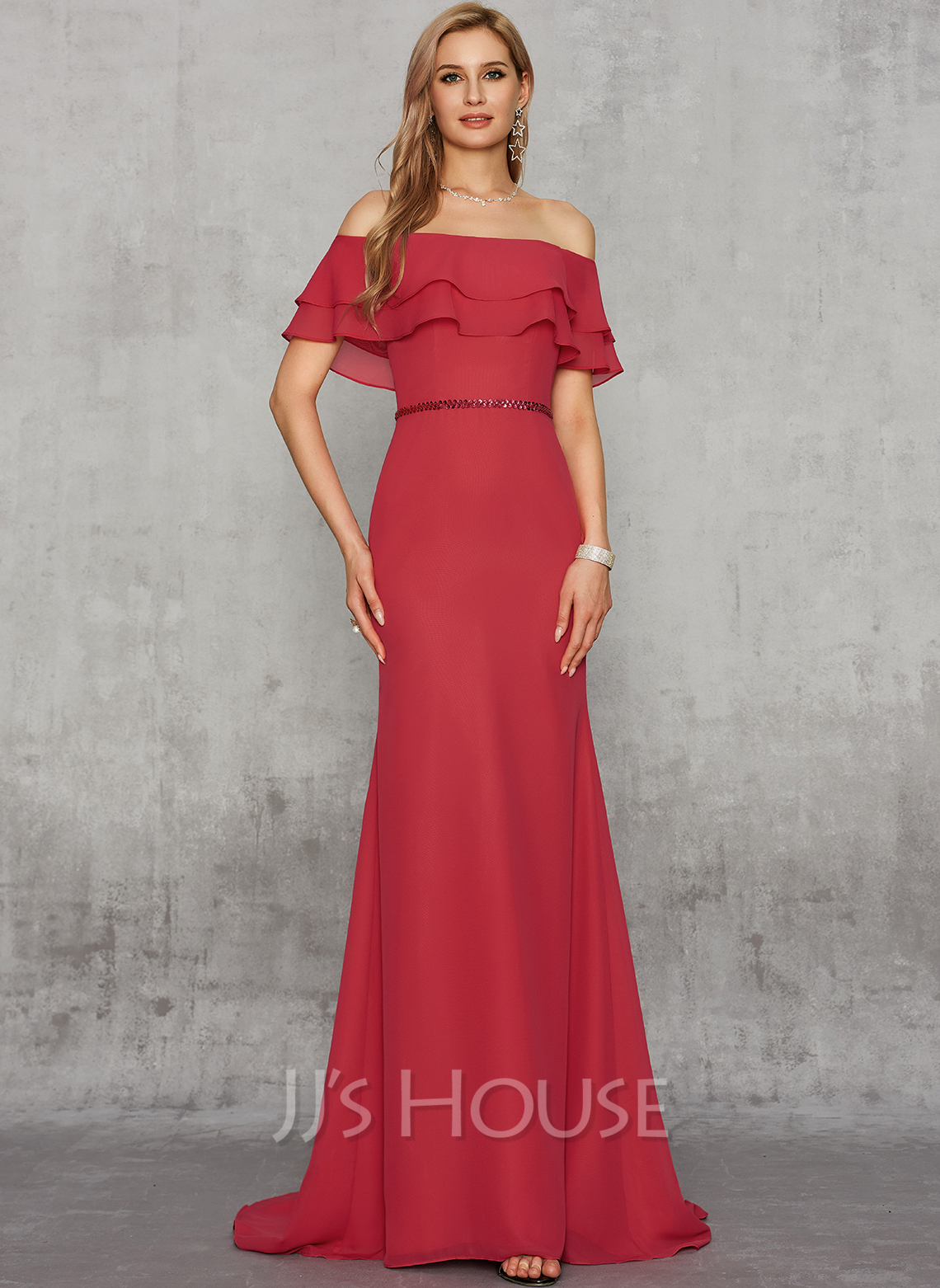 Trumpet/Mermaid Off-the-Shoulder Sweep Train Chiffon Prom Dresses With Sequins