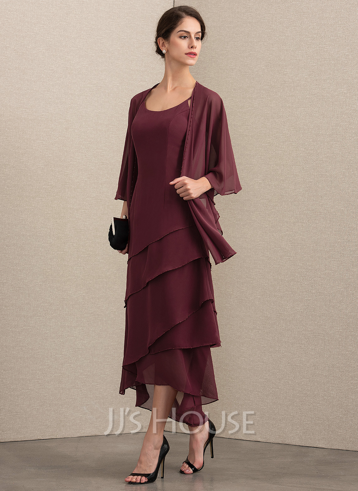 Scoop Neck Asymmetrical Chiffon Mother of the Bride Dress With Beading