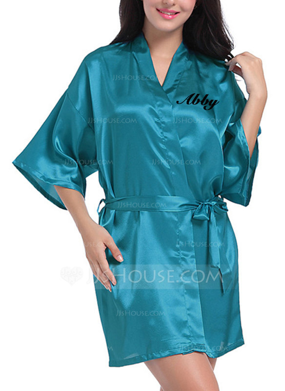 de6756b8c9 Personalized Charmeuse Bride Bridesmaid Mom Embroidered Robes. Loading zoom