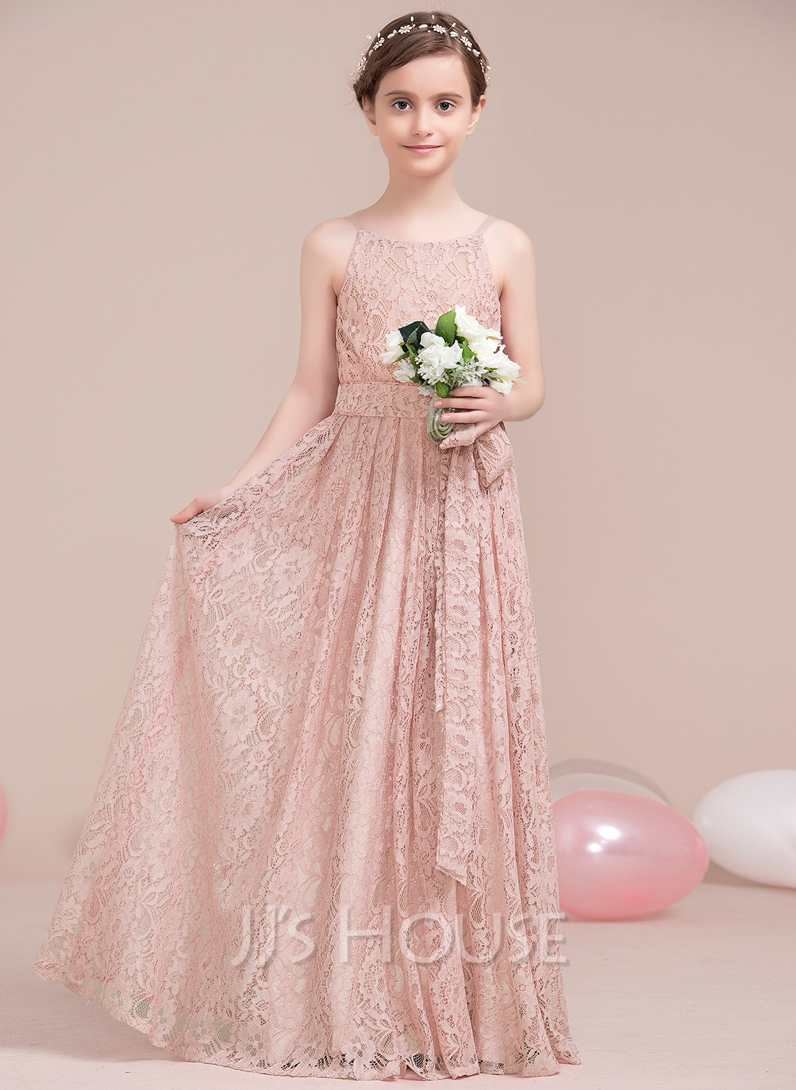 A-Line Scoop Neck Floor-Length Lace Junior Bridesmaid Dress With Bow(s)