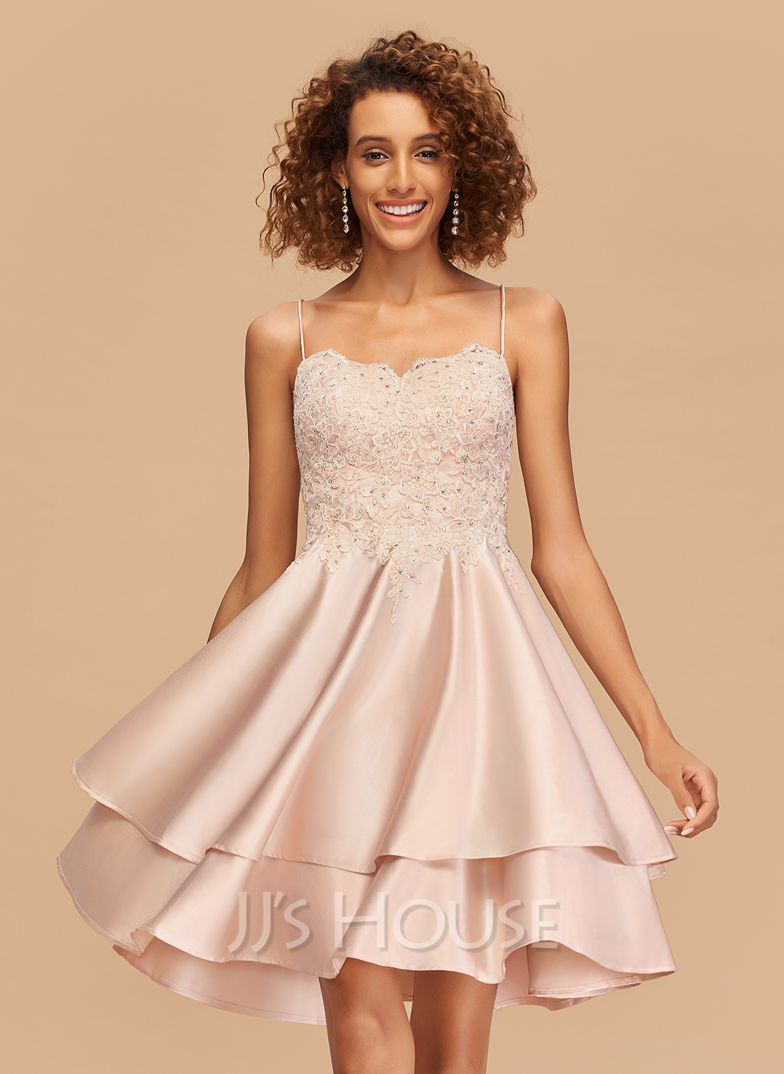 A-Line Square Neckline Knee-Length Satin Homecoming Dress With Lace Beading