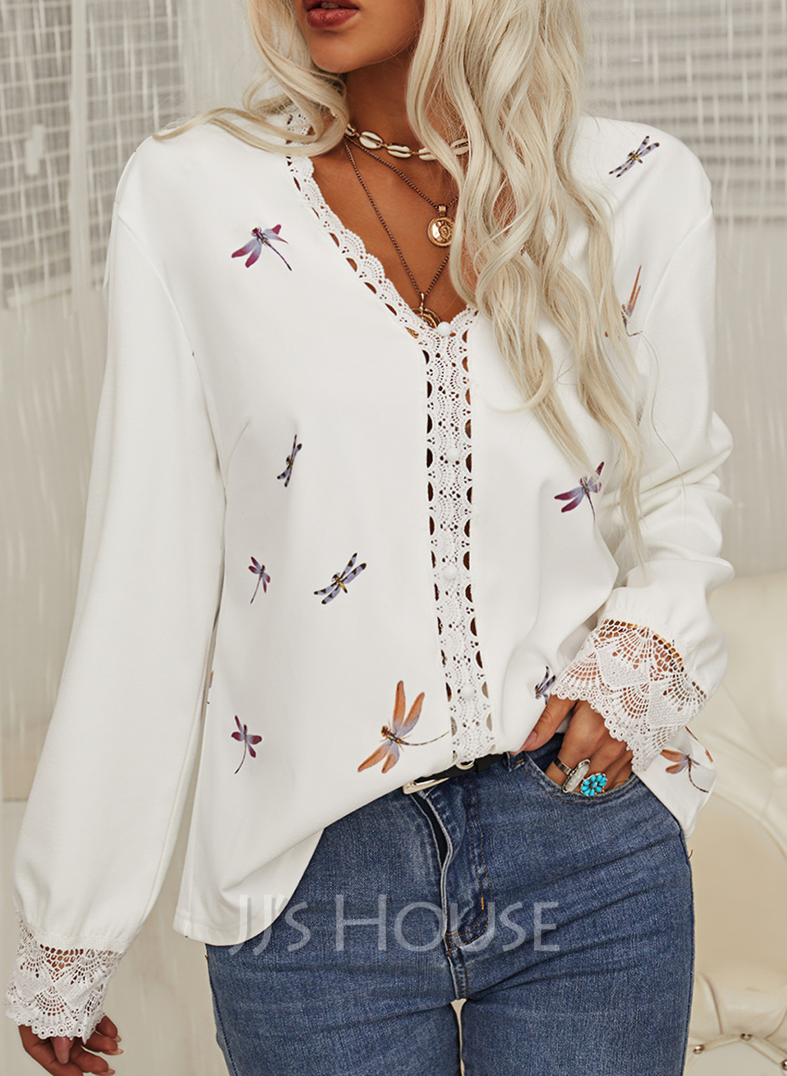 Regular Cotton Blends V-Neck Beaded Animal Print Lace Fitted Blouses