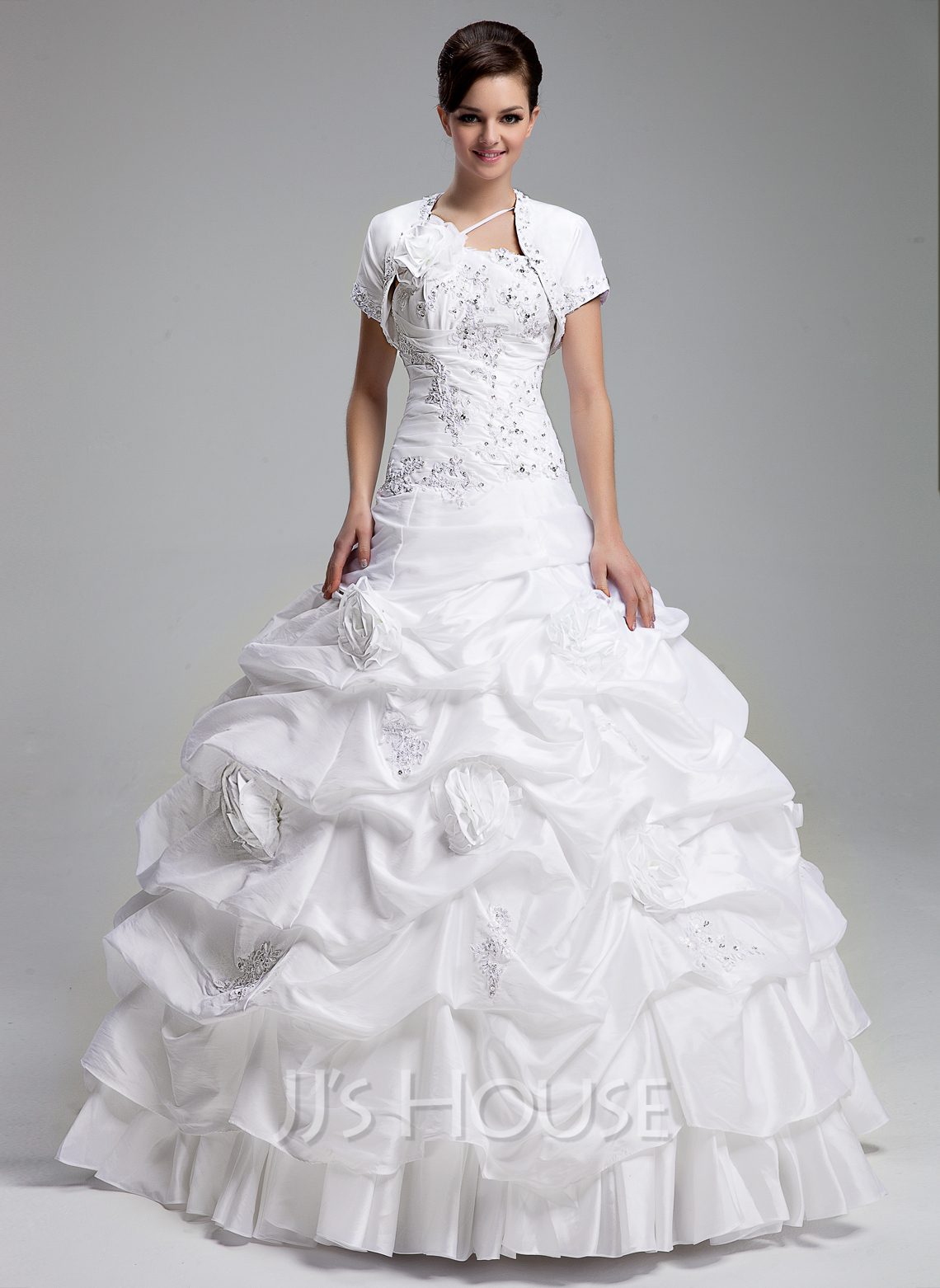 d312f300c13 Ball-Gown One-Shoulder Floor-Length Taffeta Quinceanera Dress With Ruffle Beading  Appliques. Loading zoom