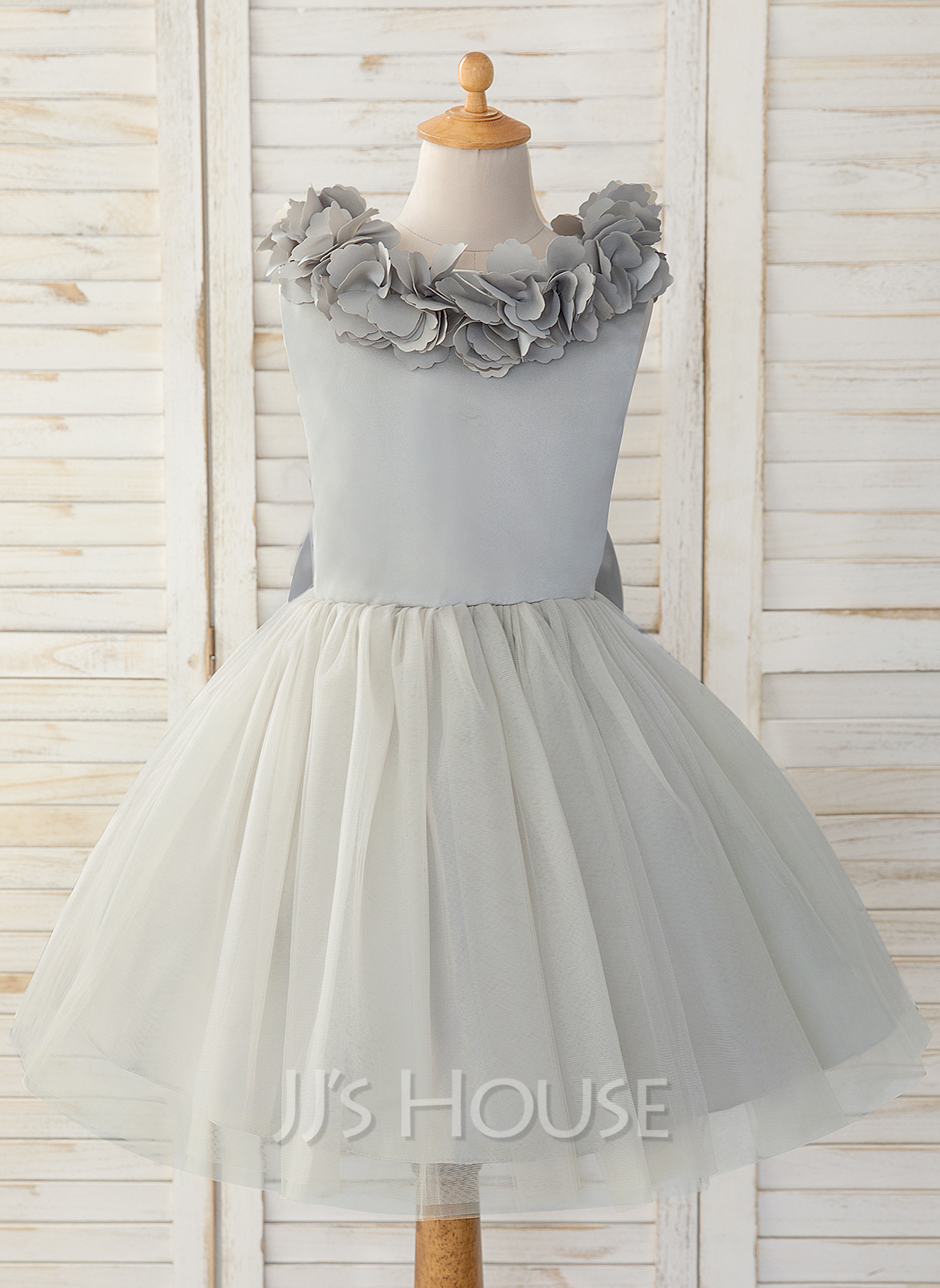 6438bd4d51a8 A-Line Knee-length Flower Girl Dress - Satin/Tulle Sleeveless Scoop Neck.  Loading zoom