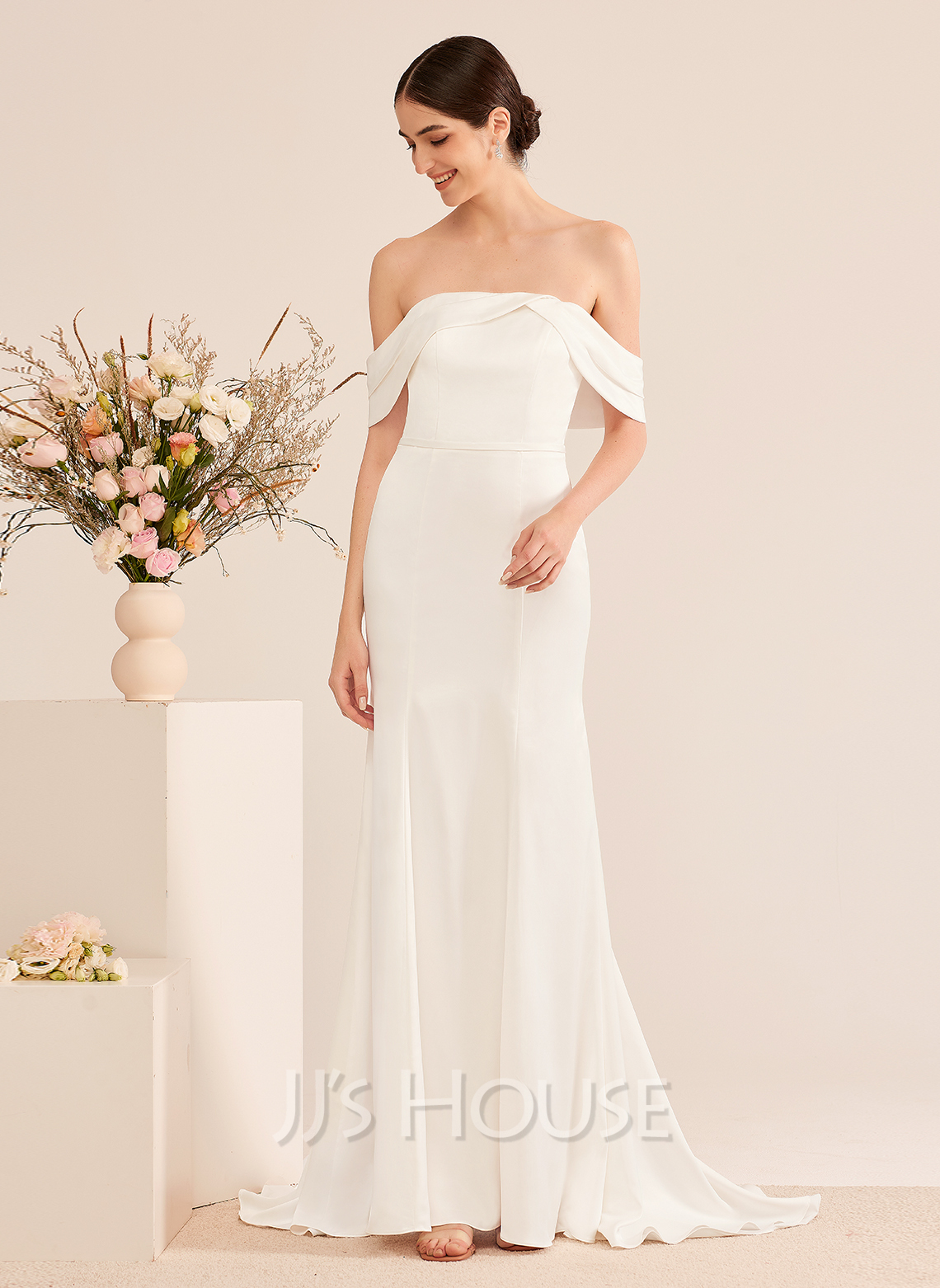 Trumpet/Mermaid Off-the-Shoulder Sweep Train Wedding Dress With Ruffle