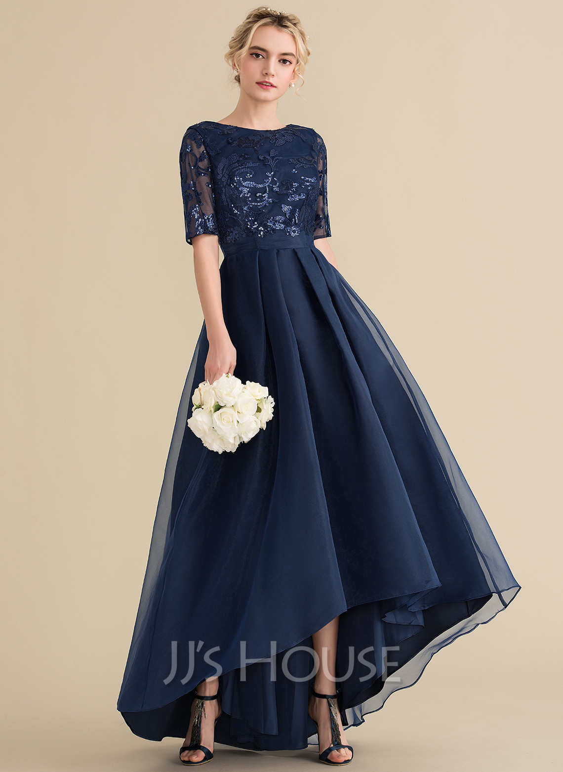 Scoop Neck Asymmetrical Organza Sequined Evening Dress