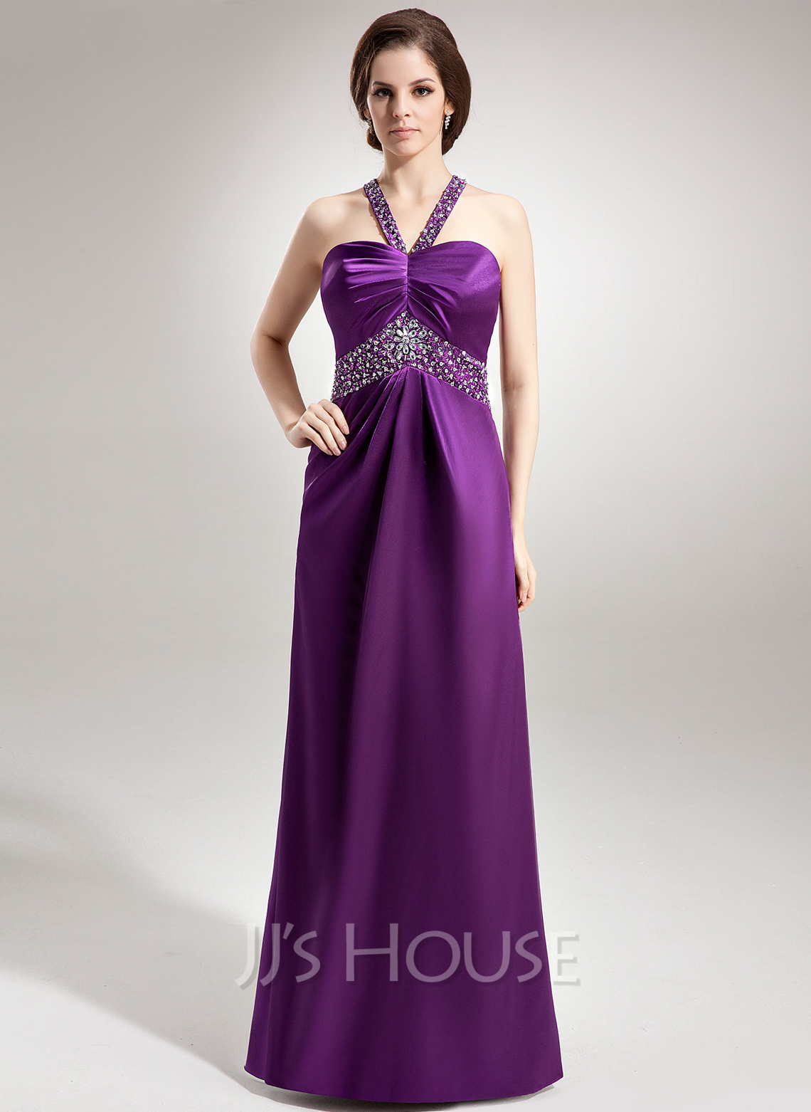 Empire Sweetheart Floor-Length Charmeuse Holiday Dress With Ruffle Beading
