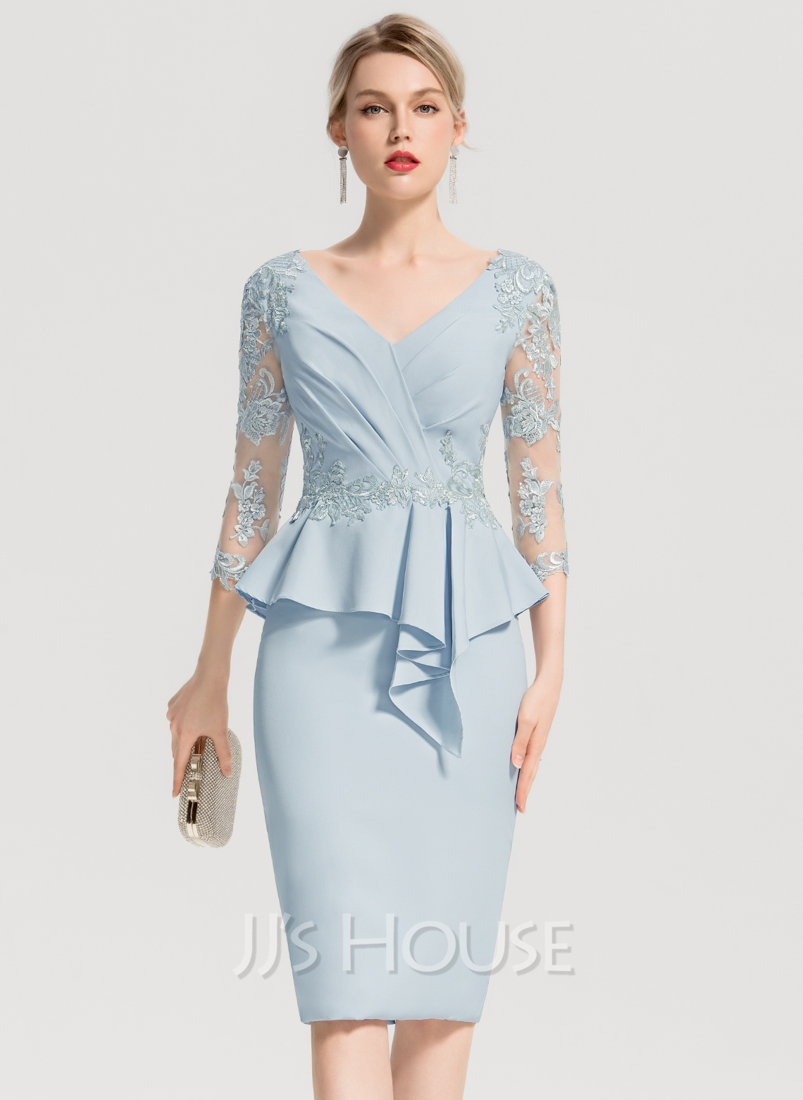 15183908840 Sheath Column V-neck Knee-Length Stretch Crepe Cocktail Dress With  Appliques Lace. Loading zoom