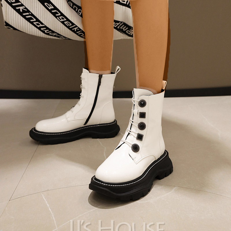 Women's Patent Leather Low Heel Mid-Calf Boots Martin Boots Round Toe With Lace-up Solid Color shoes