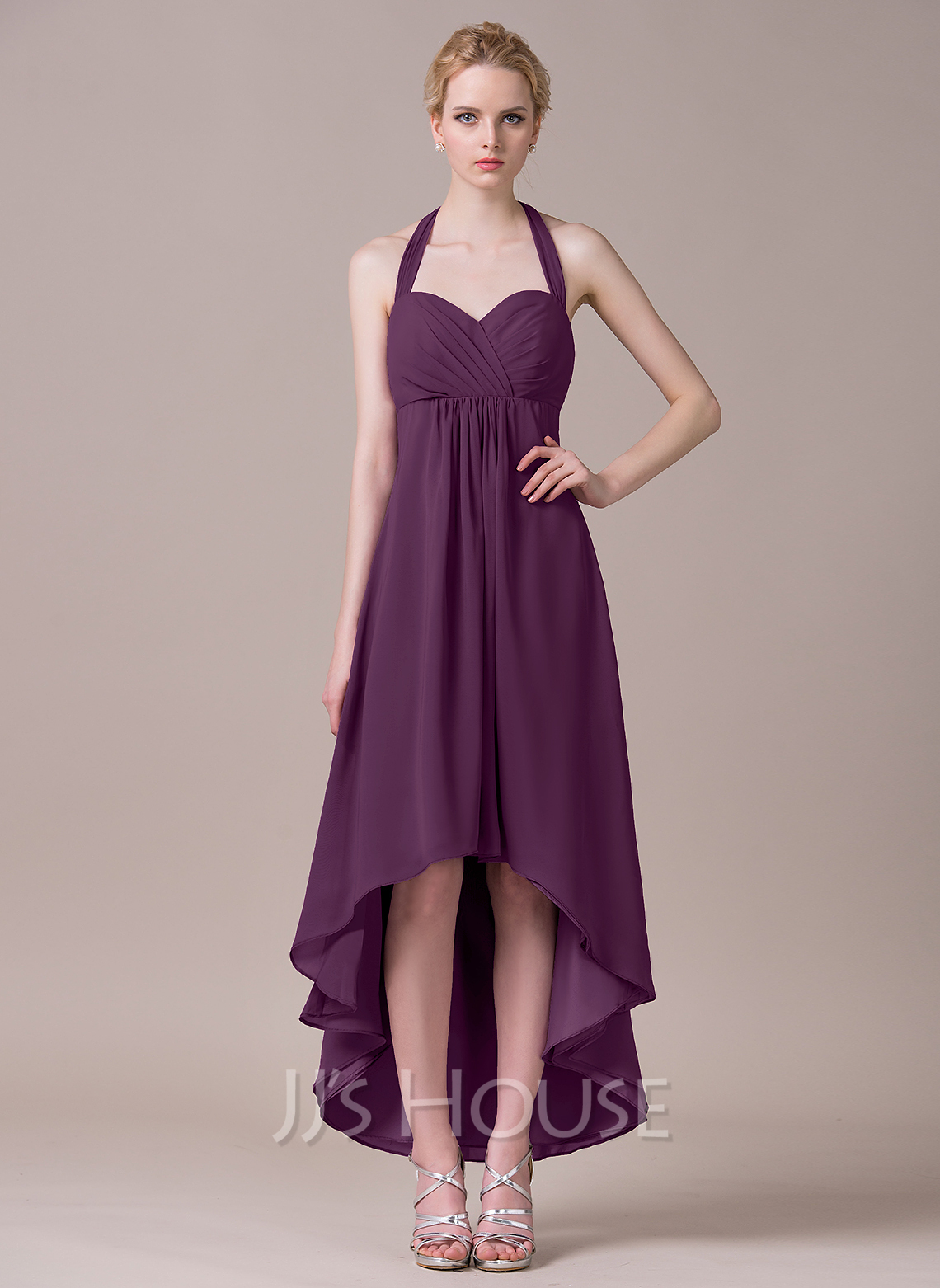 Halter Asymmetrical Chiffon Bridesmaid Dress With Ruffle Bow(s)