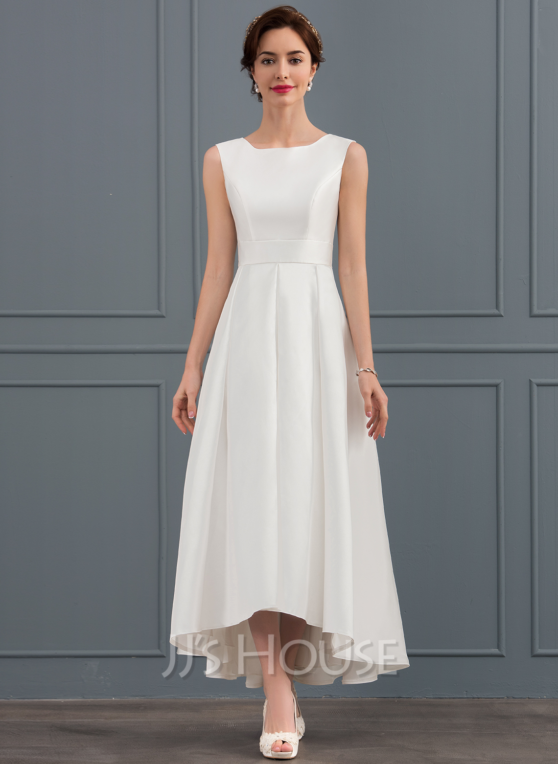 A-Line/Princess Square Neckline Asymmetrical Satin Wedding Dress ...