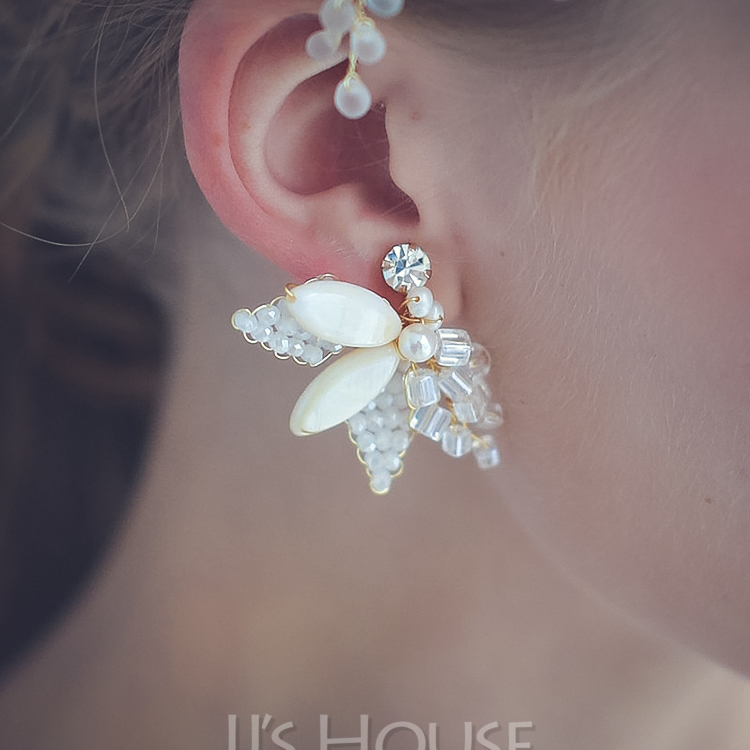 Ladies' Shining Alloy Rhinestone/Imitation Pearls Earrings For Bride/For Bridesmaid/For Mother/For Her