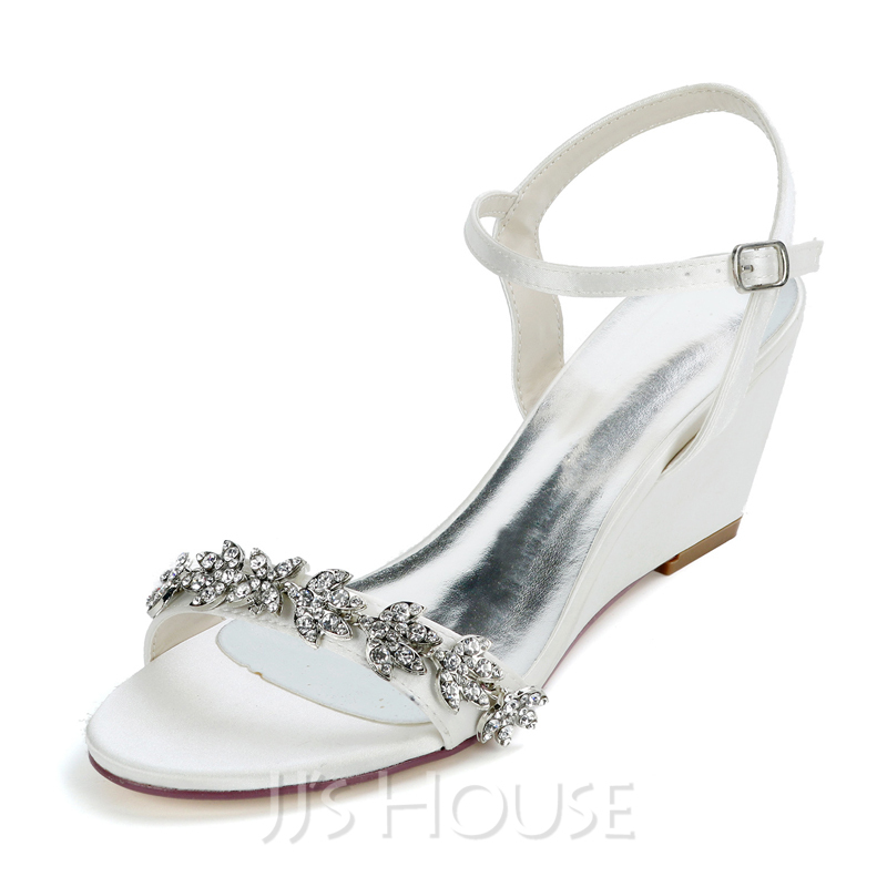 Women's Satin Low Heel Sandals With Rhinestone