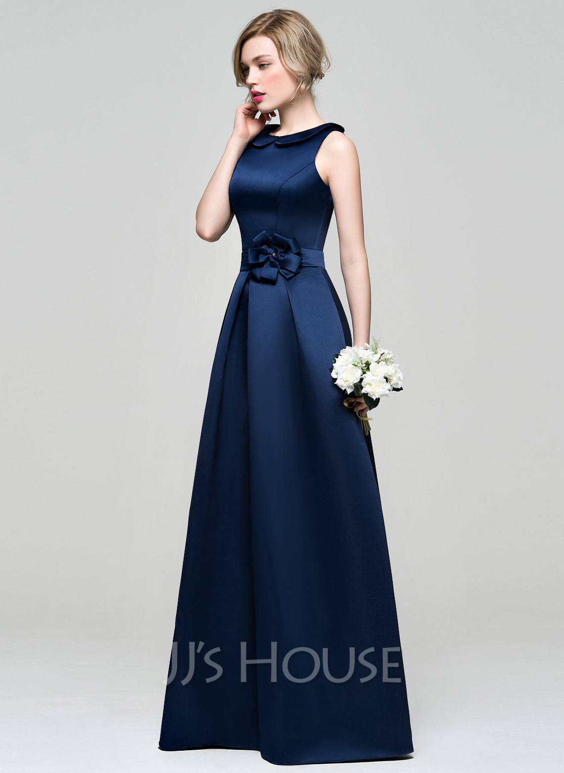 A line princess scoop neck floor length satin bridesmaid for Satin a line wedding dress