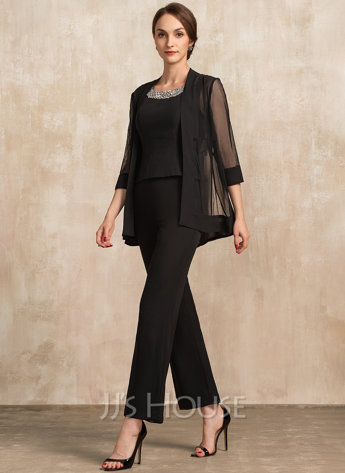Jumpsuit/Pantsuit Scoop Neck Ankle-Length Chiffon Mother of the Bride Dress With Beading Sequins
