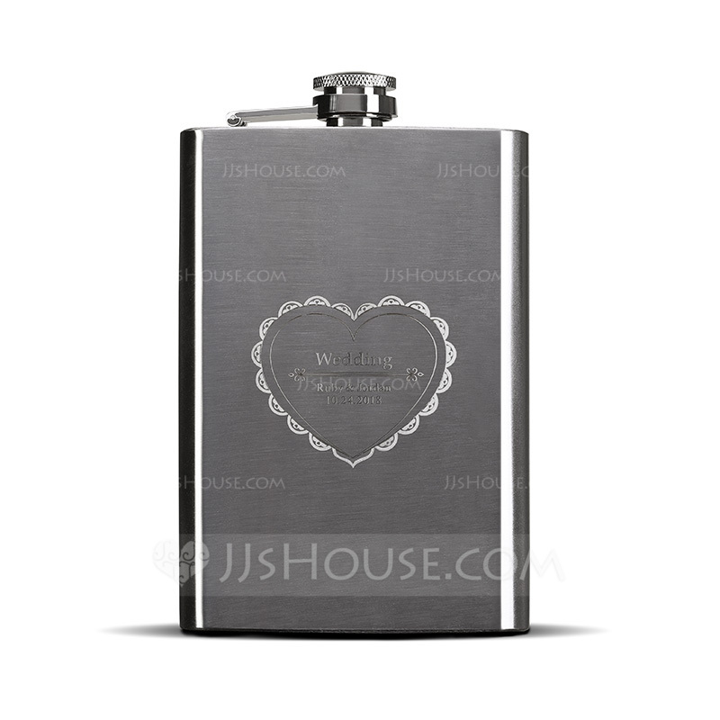 Groom Gifts - Personalized Classic Elegant Stainless Steel Flask