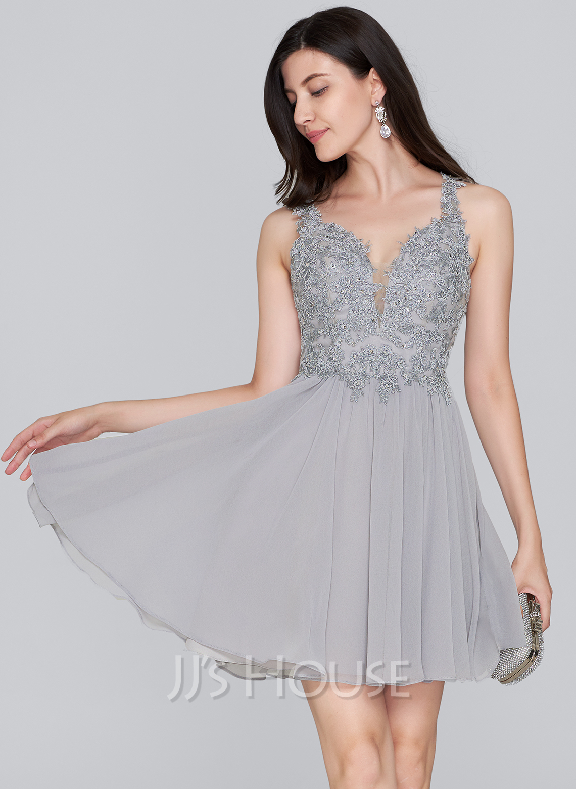 f1519feb943 A-Line Princess Sweetheart Short Mini Chiffon Homecoming Dress With Beading  Sequins. Loading zoom