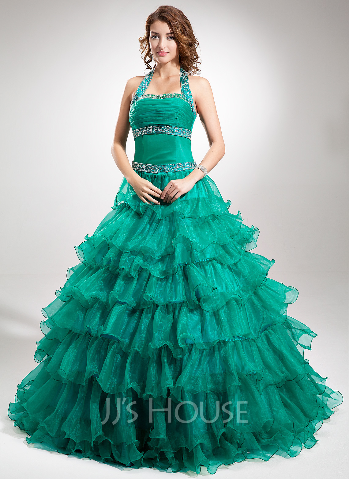 Ball-Gown Halter Floor-Length Organza Quinceanera Dress With Beading Cascading Ruffles