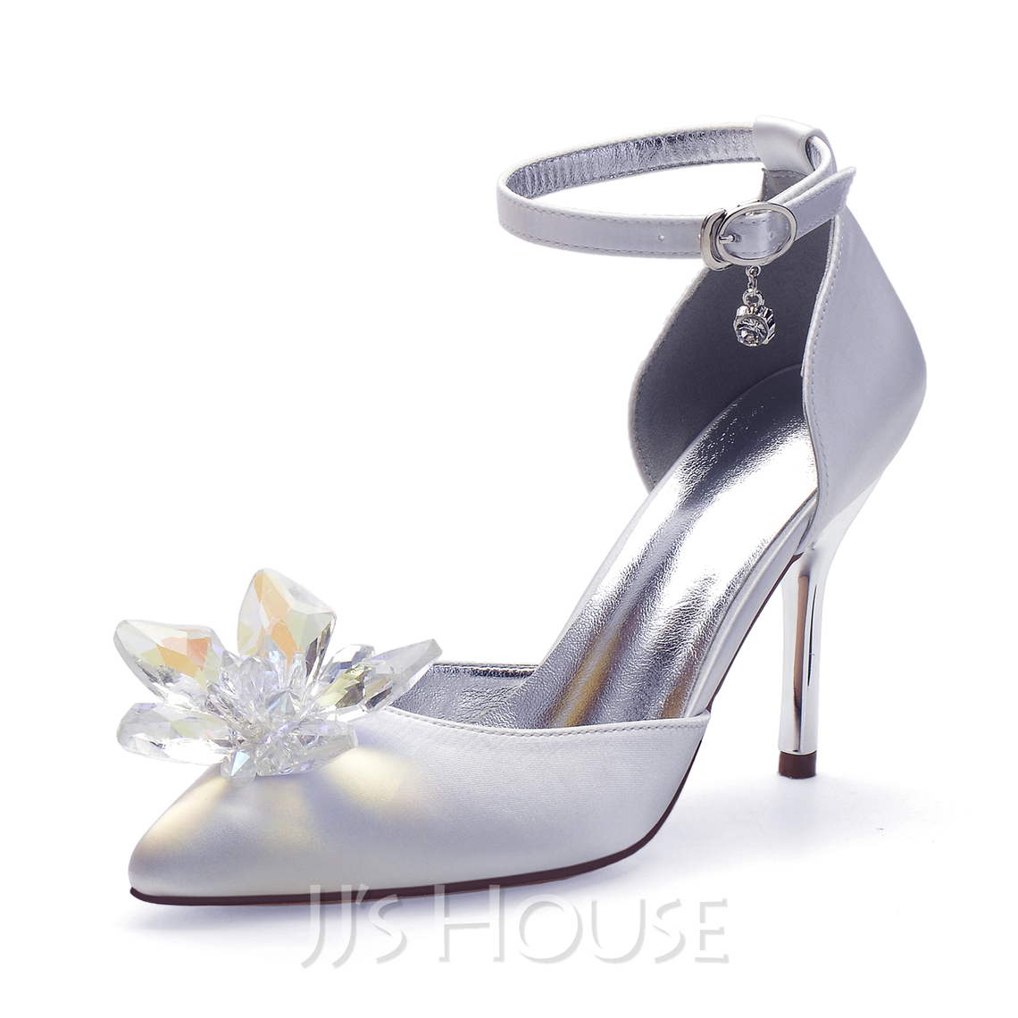 Women's Lace Stiletto Heel Pumps With Rhinestone Ruched