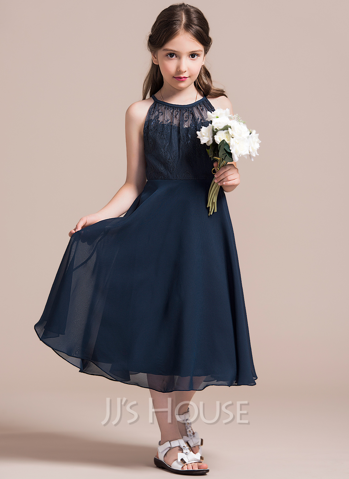 Tea-length Flower Girl Dress - Chiffon Lace Sleeveless Scoop Neck With Ruffles