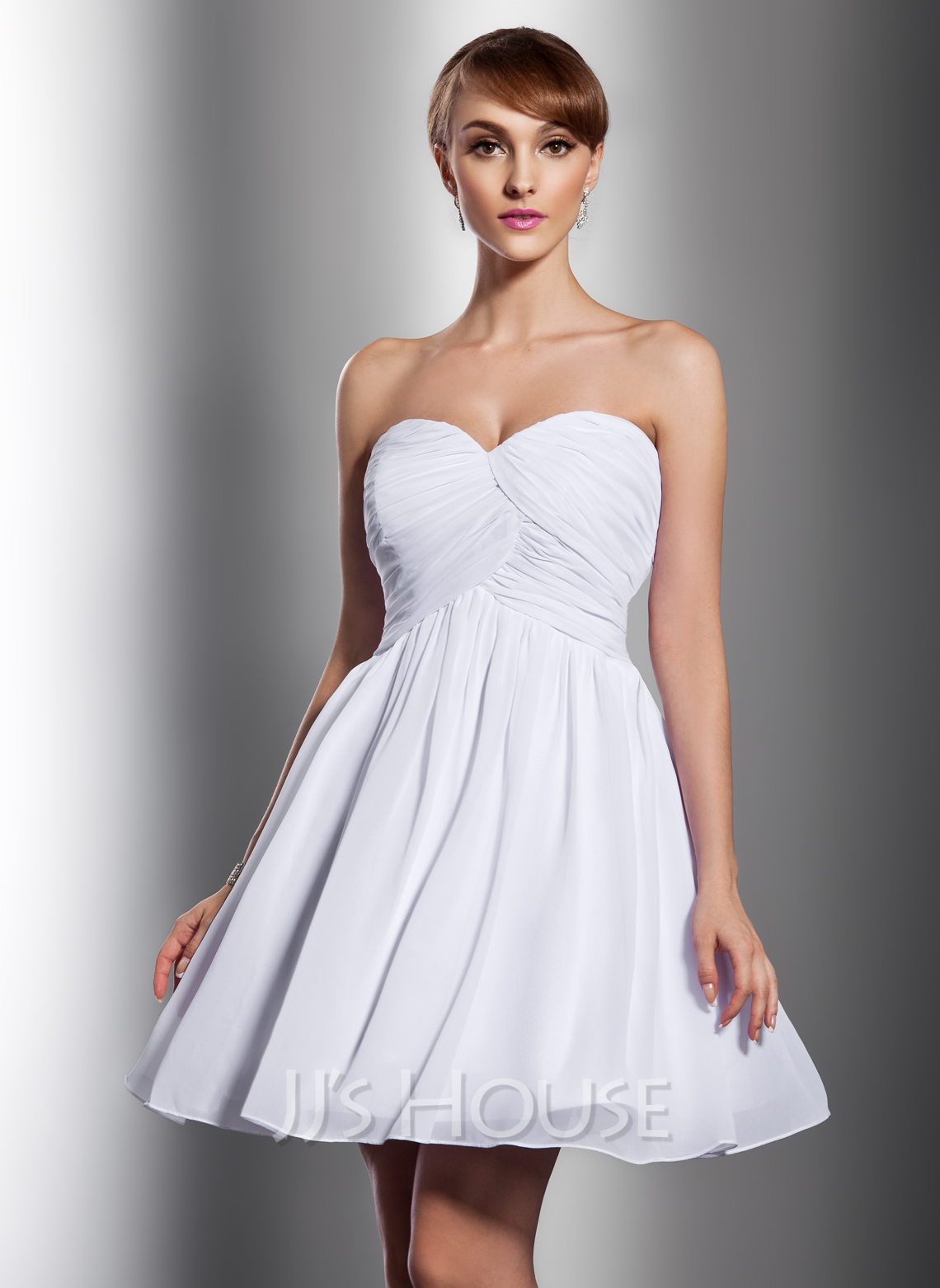 Empire sweetheart short mini chiffon bridesmaid dress with for Short mini wedding dresses