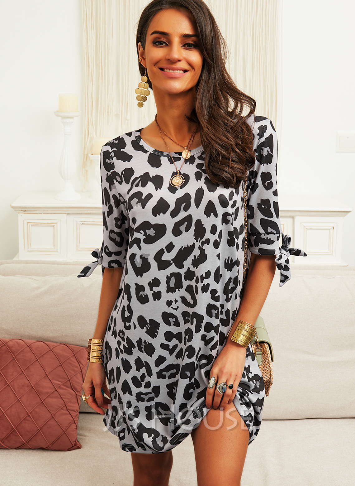 Leopard Shift Round Neck 1/2 Sleeves Midi Casual Tunic Dresses