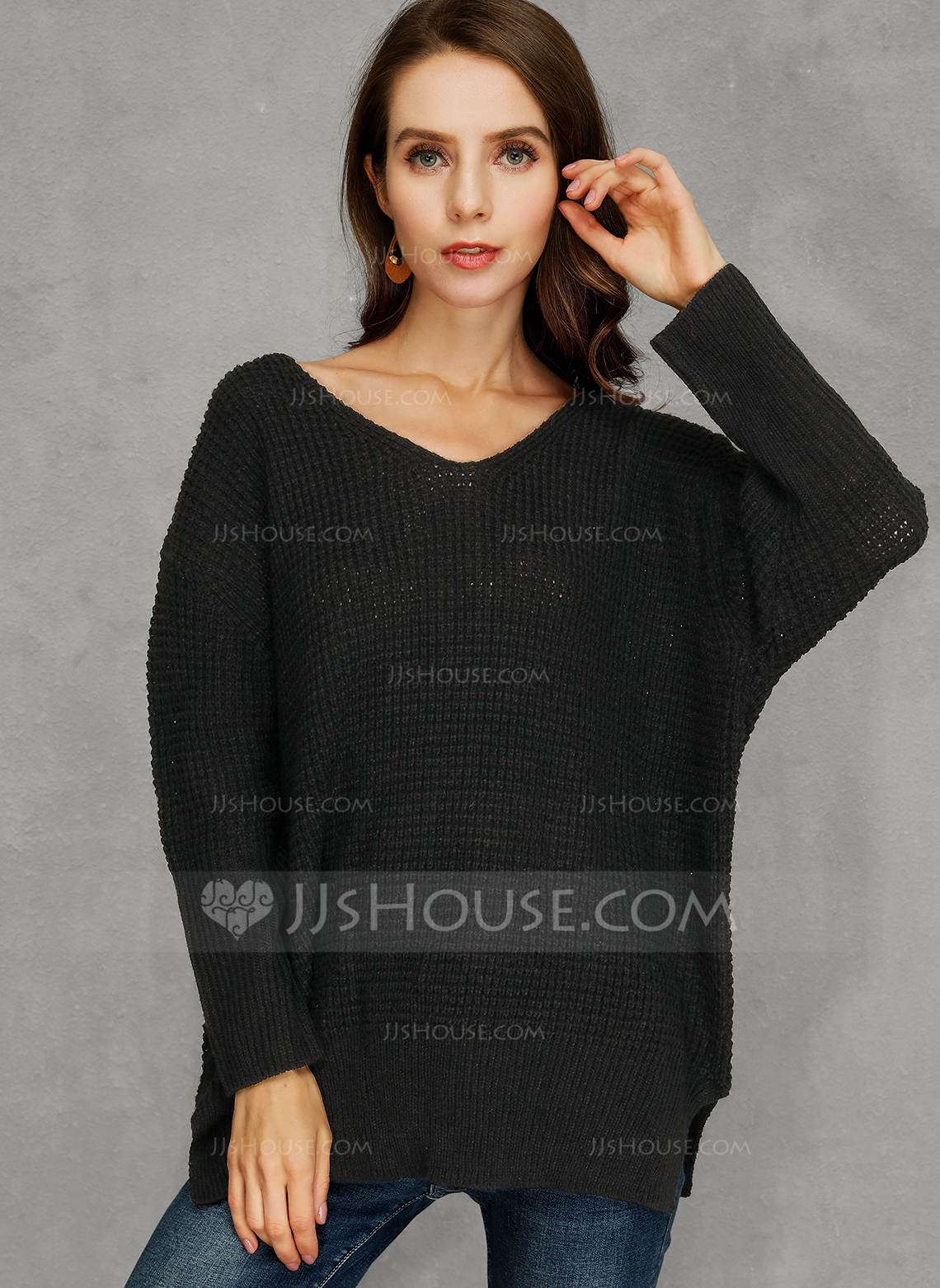 Chunky knit Solid Polyester V-neck Pullovers Sweater Dresses Sweaters