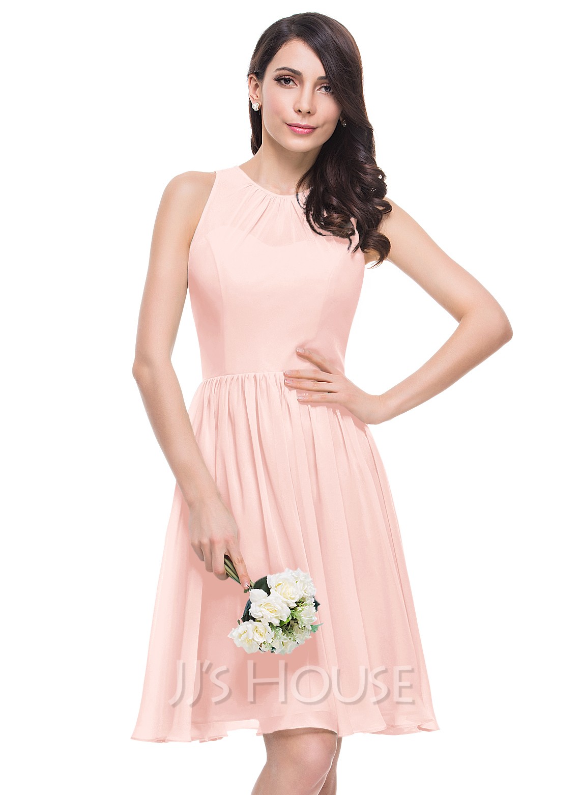 A-Line/Princess Scoop Neck Knee-Length Chiffon Bridesmaid Dress With ...