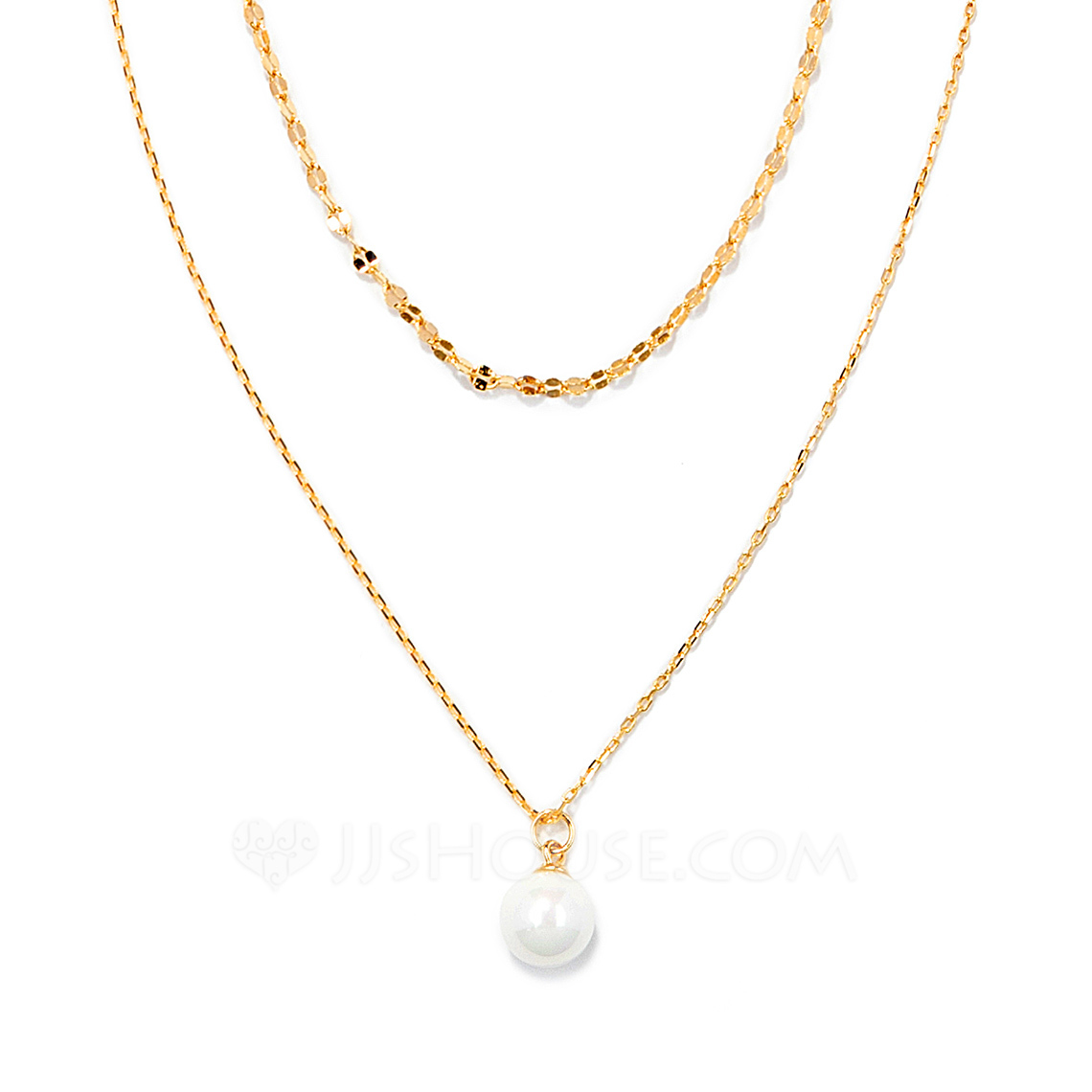 18k Gold Plated Silver Double Pearl Pendant Necklace - Birthday Gifts Mother's Day Gifts