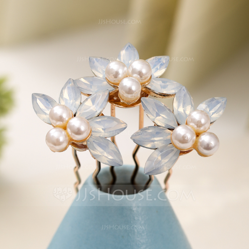 Ladies Elegant Alloy/Imitation Pearls/Glass Hairpins With Venetian Pearl (Sold in single piece)