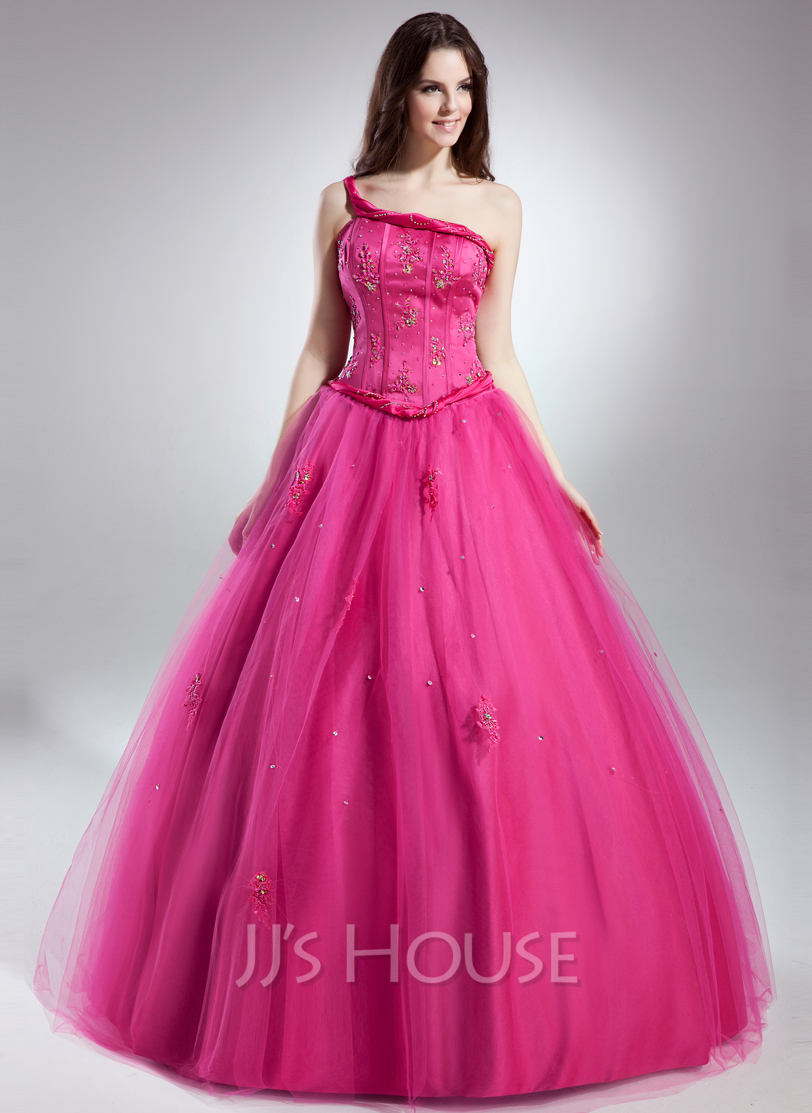 Ball-Gown One-Shoulder Floor-Length Tulle Quinceanera Dress With Beading Appliques Lace
