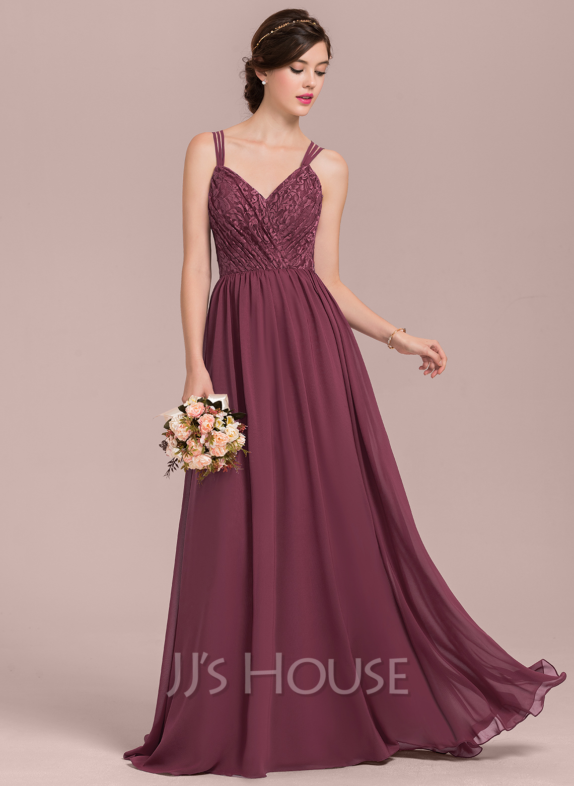 A-Line/Princess Sweetheart Floor-Length Chiffon Lace Bridesmaid ...