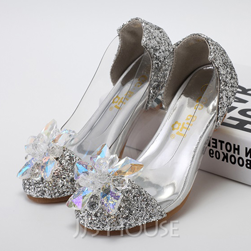 681834da0f37 Girl's Closed Toe Leatherette Sparkling Glitter Low Heel Pumps Flower Girl  Shoes With Rhinestone. Loading zoom