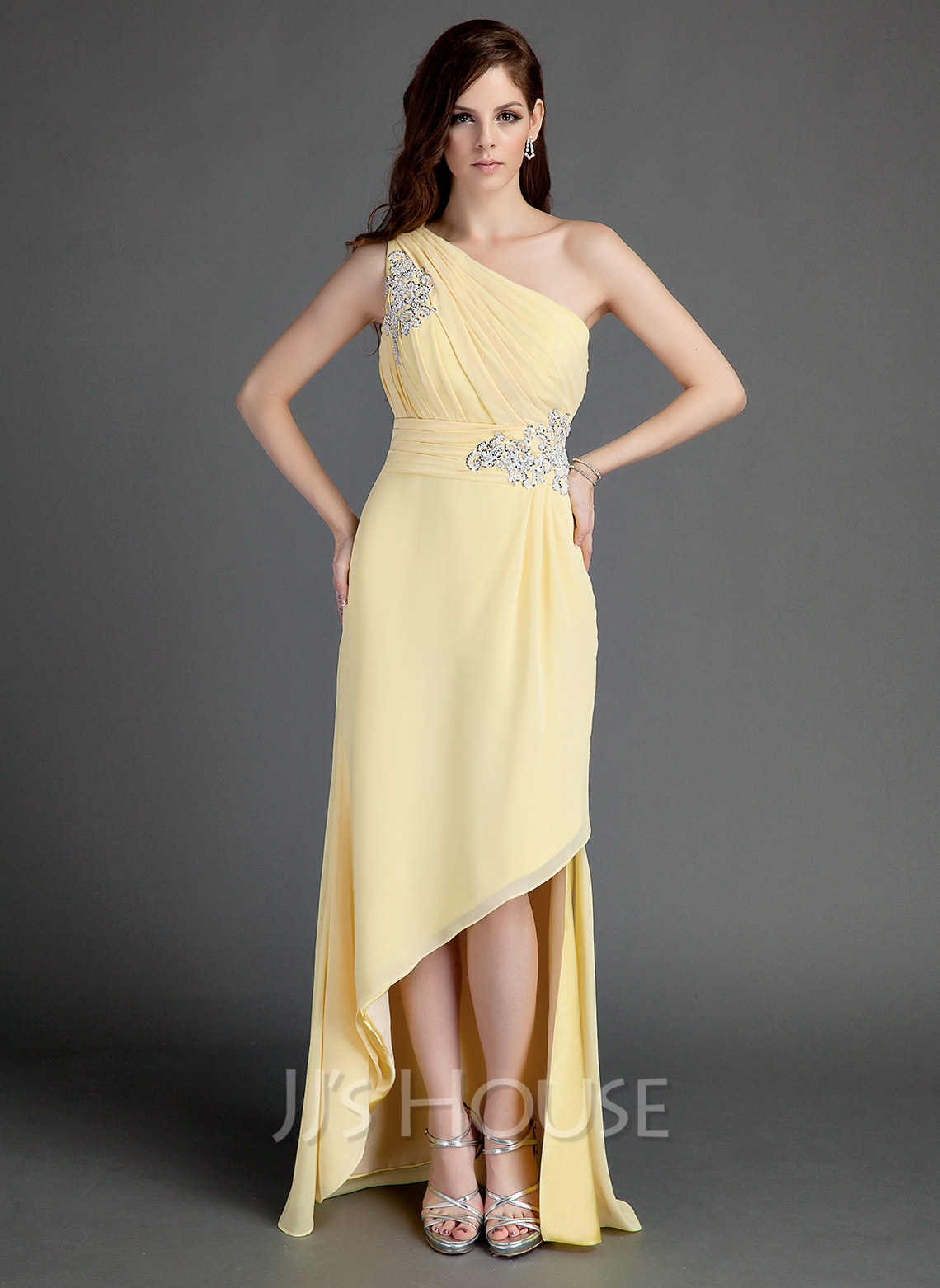 A-Line/Princess One-Shoulder Asymmetrical Chiffon Holiday Dress With Ruffle Beading Appliques Lace