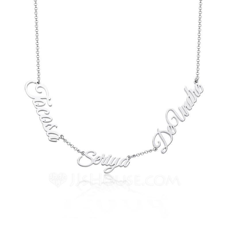 Custom Silver Letter Three Name Necklace - Birthday Gifts