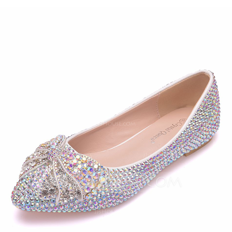 Women's Leatherette Flat Heel Flats With Crystal