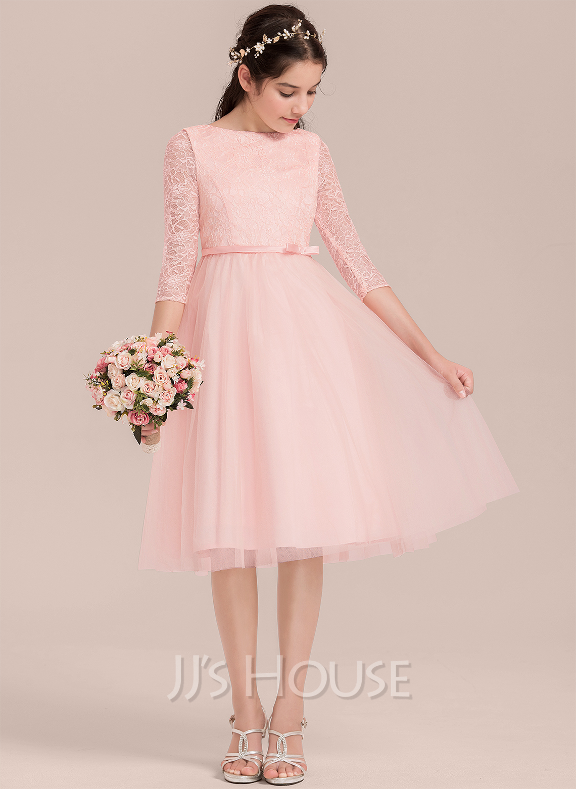 Knee-length Flower Girl Dress - Satin Tulle Lace 3/4 Sleeves Scoop Neck