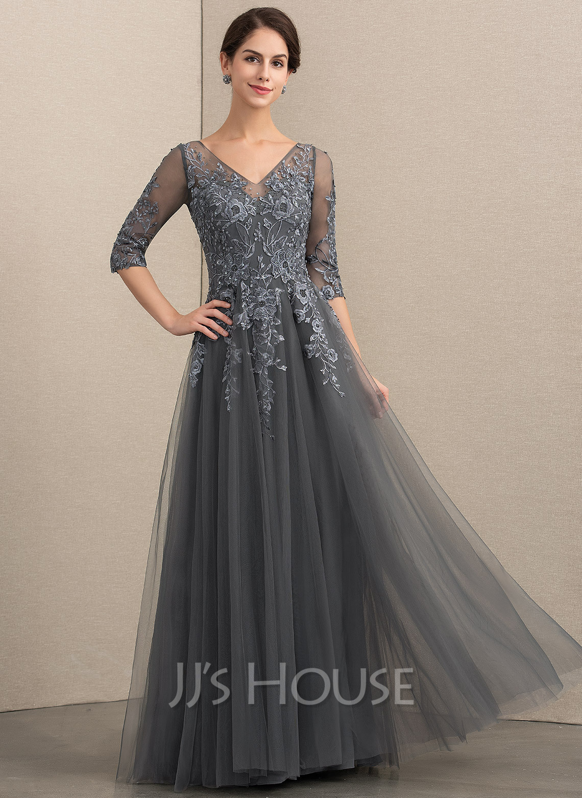 245db8e38ab A-Line V-neck Floor-Length Tulle Lace Mother of the Bride Dress. Loading  zoom
