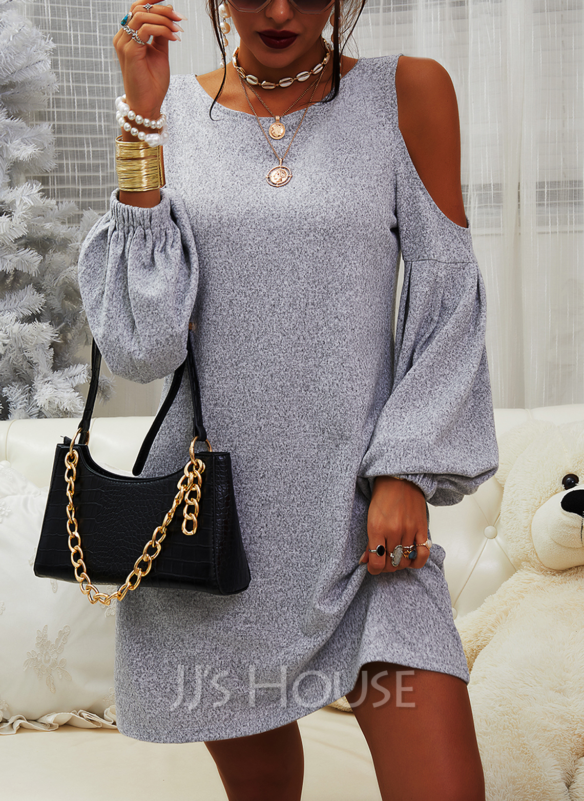 Solid Shift Cold Shoulder Long Sleeves Midi Casual Little Black Tunic Dresses