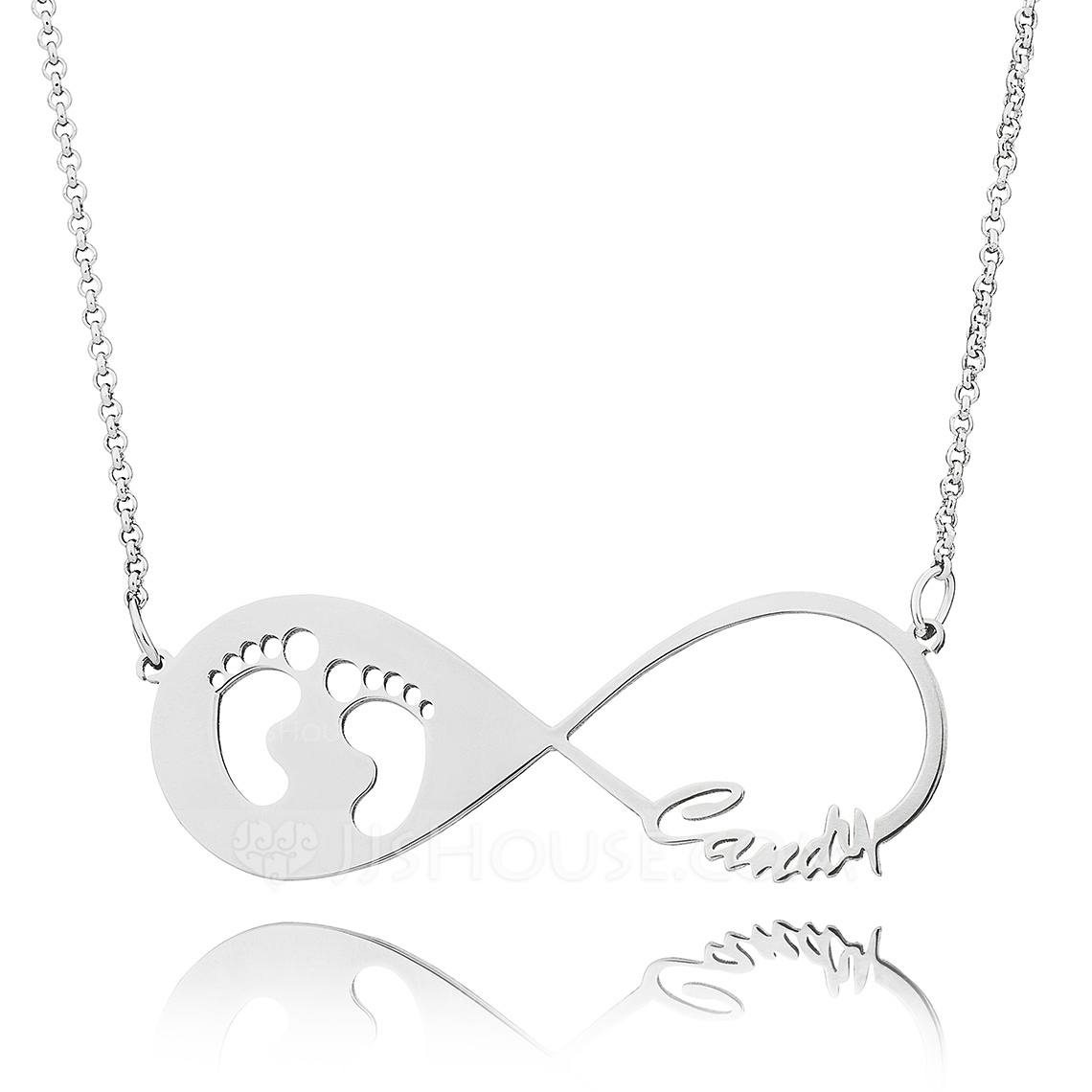 Custom Sterling Silver Baby Footprint Infinity Name Necklace With Kids Names - Birthday Gifts Mother's Day Gifts