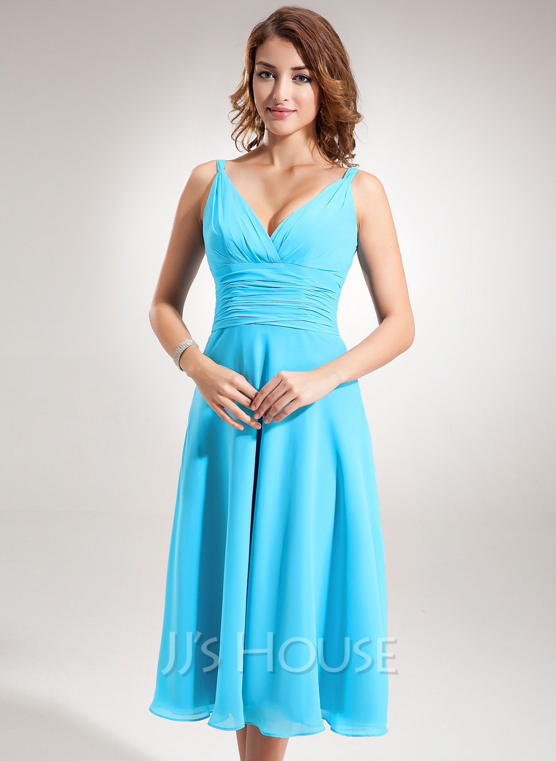 V-neck Tea-Length Chiffon Bridesmaid Dress