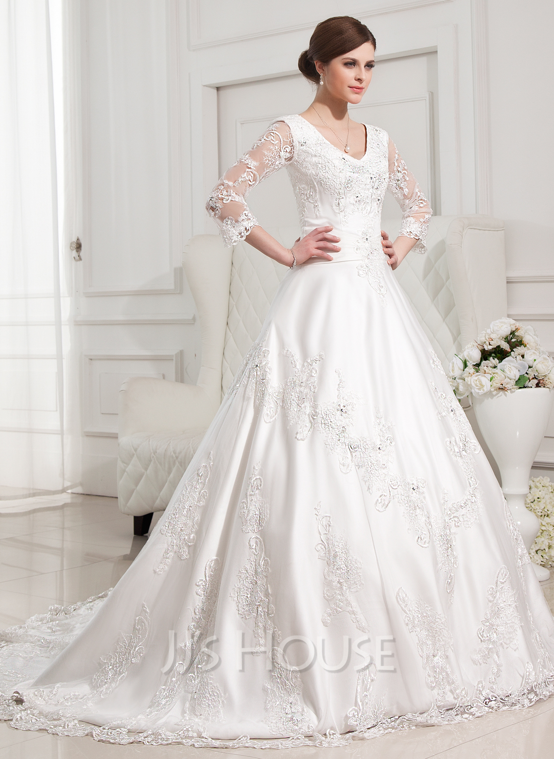Ball gown v neck chapel train satin wedding dress with for Beading for wedding dress