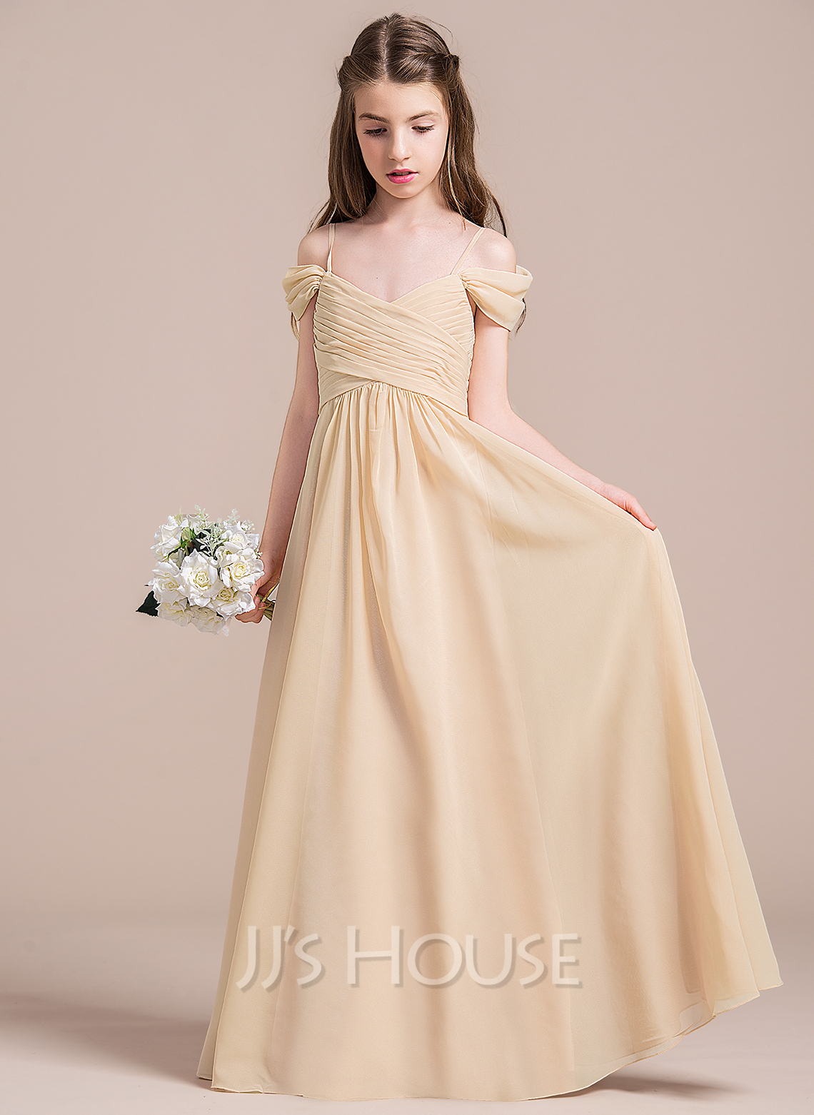 A Line/Princess Off The Shoulder Floor Length Chiffon Junior Bridesmaid