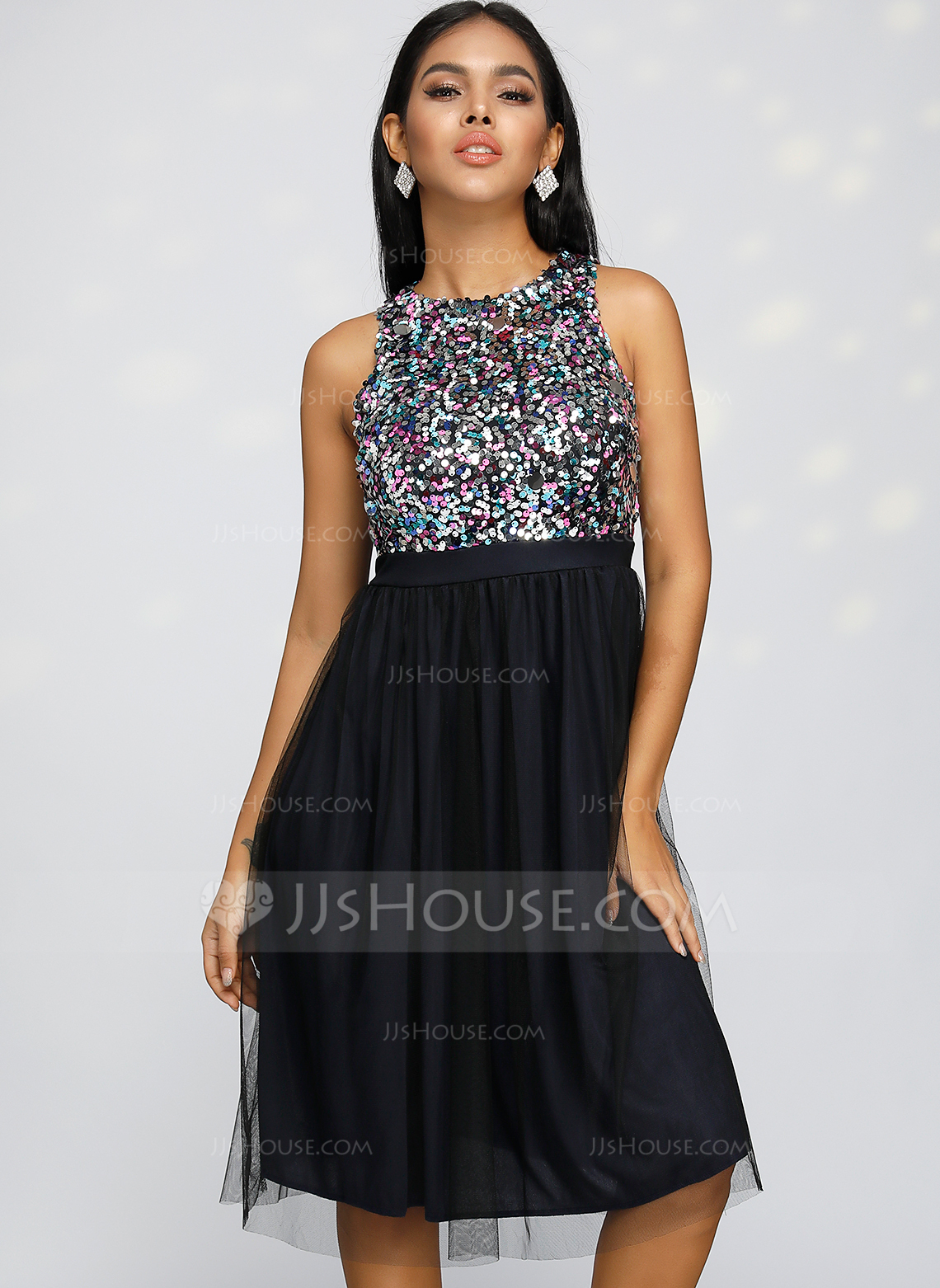 Polyester With Sequins Midi Dress
