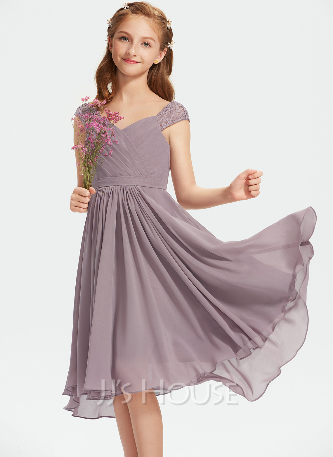 A-Line V-neck Knee-Length Chiffon Lace Junior Bridesmaid Dress With Ruffle
