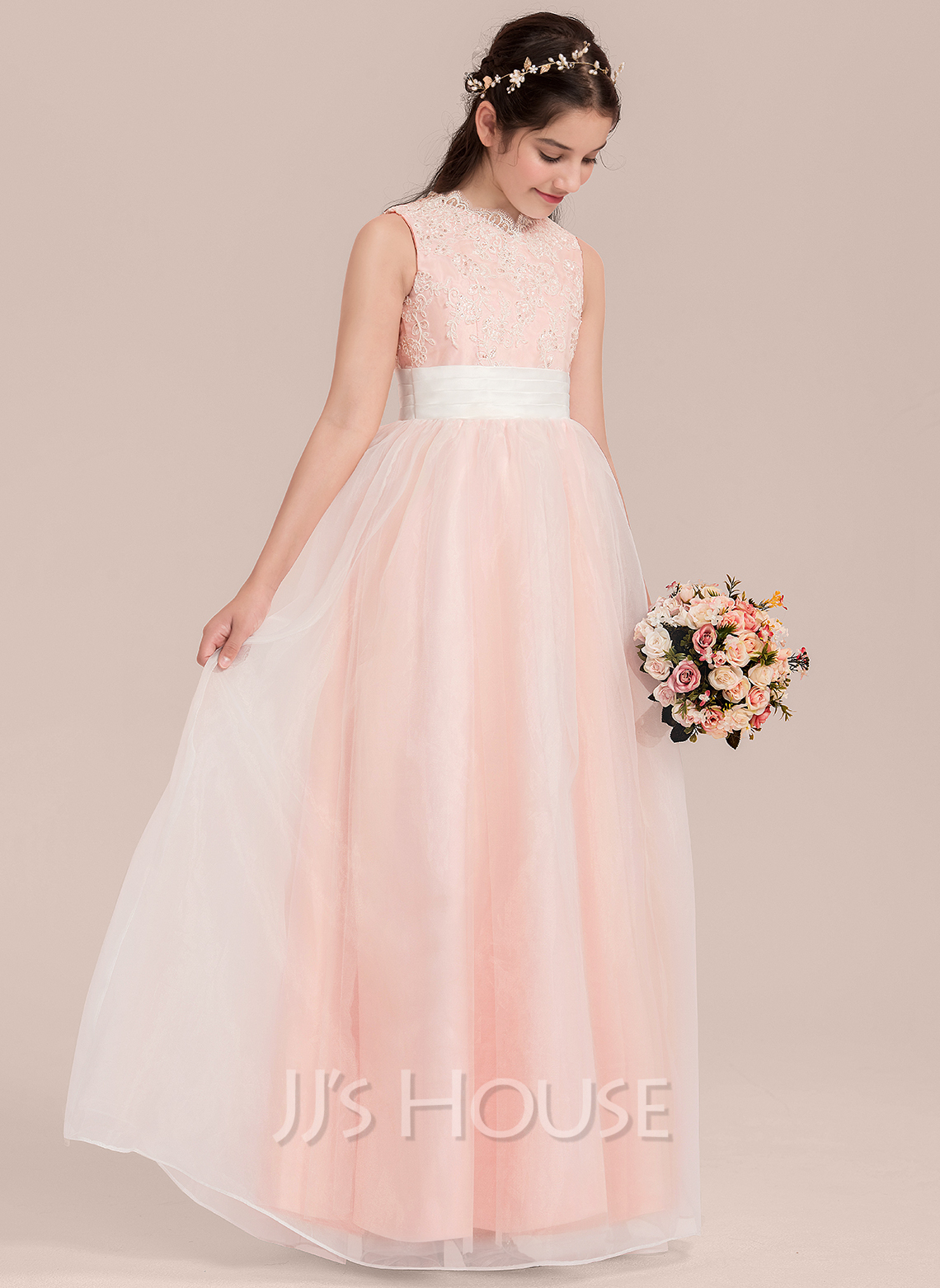 Floor-length Flower Girl Dress - Organza Lace Sleeveless V-neck With Sequins