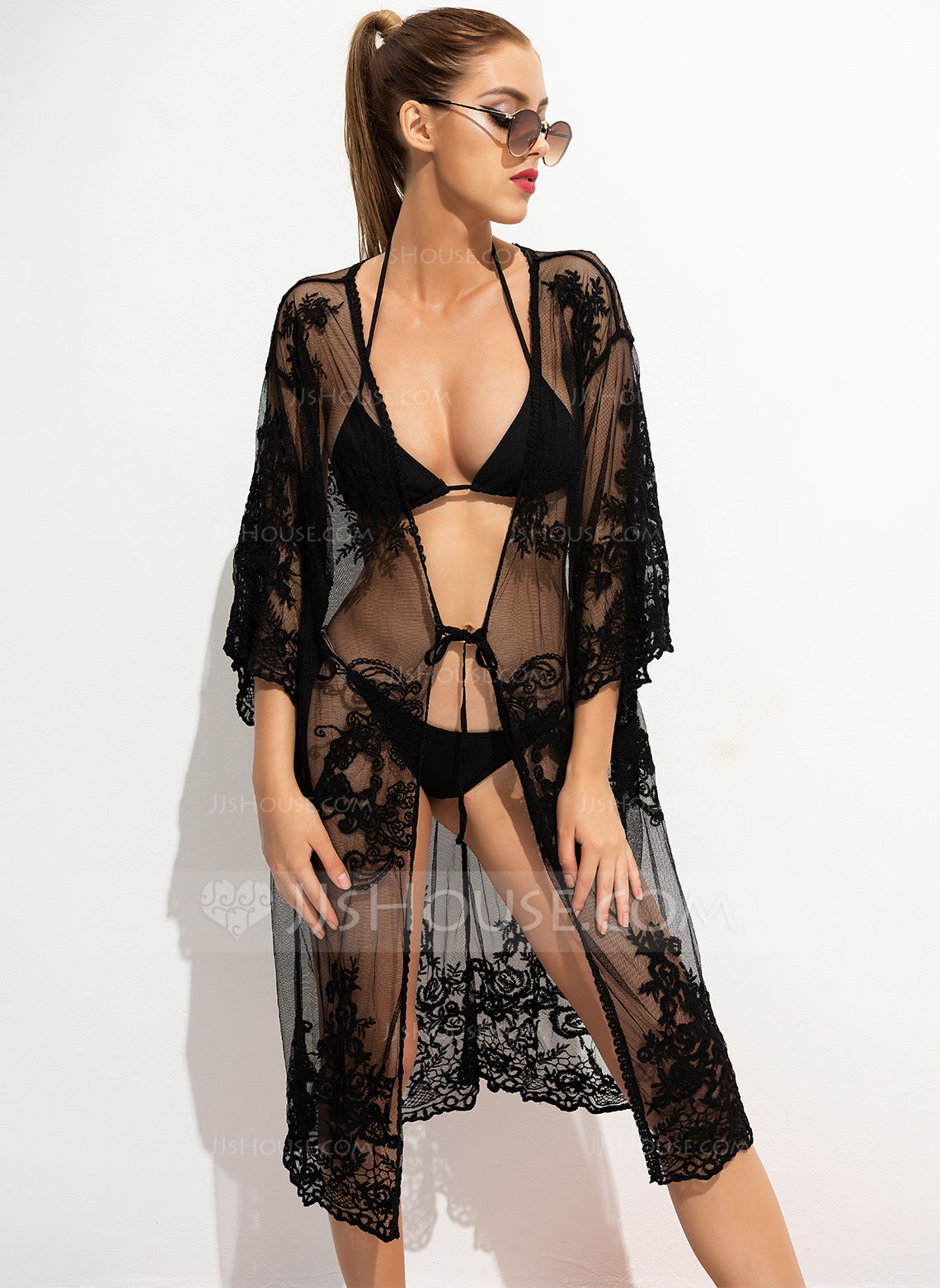 Sexy Solid Color Polyester Cover-ups